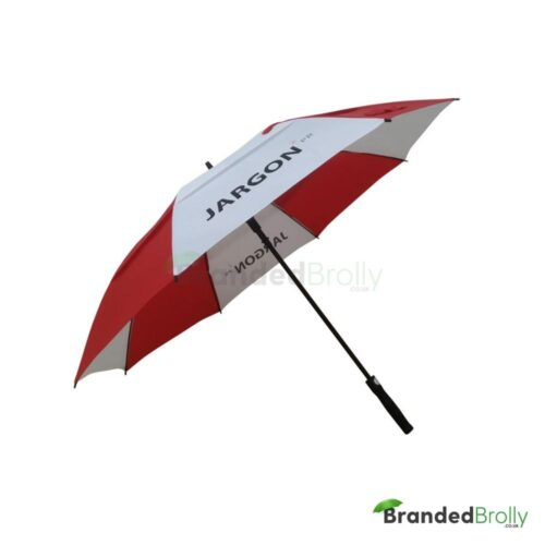 Red And White Branded Vented Golf Umbrella